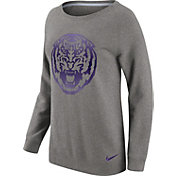Nike Women's LSU Tigers Grey Champ Drive Boyfriend Crew Sweatshirt
