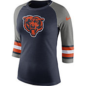 Nike Women's Chicago Bears Stripe Tri-Blend Navy Raglan T-Shirt