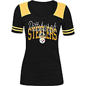 5th & Ocean Women's Pittsburgh Steelers Charcoal Tri-Blend T-Shirt