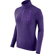 Nike Women's Minnesota Vikings Element Quarter-Zip Performance Purple Top