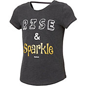 Reebok Girls' Cotton Rise And Sparkle Graphic Strap Back T-Shirt