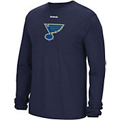 Reebok Men's St. Louis Blues Jersey Crest Navy Long Sleeve T-Shirt