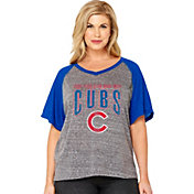 Soft As A Grape Women's Chicago Cubs Tri-Blend Raglan Half-Sleeve Shirt
