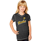 Soft As A Grape Youth Girls' Pittsburgh Pirates Tri-Blend Black V-Neck T-Shirt