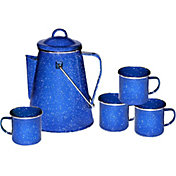 Stansport Enamel 8-Cup Coffee Percolator and Four 12 oz. Mugs