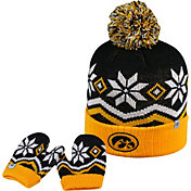 Top of the World Youth Iowa Hawkeyes Black/Gold/White Lil Frost Beanie and Mittens Set