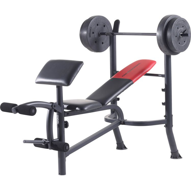 Weider Pro 265 Standard Weight Bench And Weight Combo .