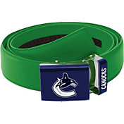 Zephyr Belts by Mission Men's Vancouver Canucks Logo Green Leather Belt