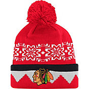 adidas Men's Chicago Blackhawks Ugly Sweater Red Pom Knit Beanie
