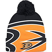 adidas Men's Anaheim Ducks Logo Black Pom Knit Beanie