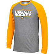 adidas Men's Pittsburgh Penguins Dassler Local Ultimate Grey/Gold Performance Long Sleeve Shirt