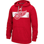 adidas Men's Detroit Red Wings Heather Red Pullover Hoodie