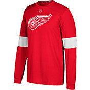 adidas Men's Detroit Red Wings Jersey Red Long Sleeve Shirt