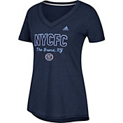 adidas Women's New York City FC Bold Navy Heathered Arch V-Neck T-Shirt