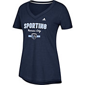 adidas Women's Sporting Kansas City Bold Navy Heathered Arch V-Neck T-Shirt