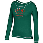 adidas Women's Miami Hurricanes Green Soft & Faded Tri-Blend Long Sleeve