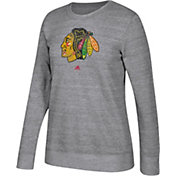 adidas Women's Chicago Blackhawks Distressed Logo Heather Grey Sweatshirt