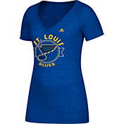 adidas Women's St. Louis Blues Banner Dazzle Royal Heathered T-Shirt
