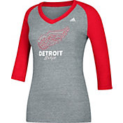 adidas Women's Detroit Red Wings Bling Red 3/4 Sleeve V-Neck Shirt