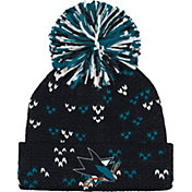 adidas Women's San Jose Sharks Black Cuff Pom Knit Beanie