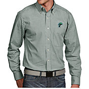 Antigua Men's Tulane Green Wave Olive Associate Button Down Long Sleeve Shirt