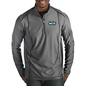 Antigua Men's Seattle Seahawks Quick Snap Logo Tempo Grey Quarter-Zip Pullover