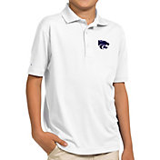 Antigua Youth Kansas State Wildcats White Pique Polo