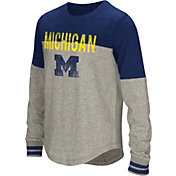 Colosseum Girls' Michigan Wolverines Grey Baton Long Sleeve T-Shirt