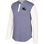 CCM Men's San Jose Sharks Henley Grey Long Sleeve Shirt