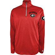 Champion Men's Georgia Bulldogs Red Knit Mesh Quarter-Zip Shirt