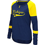 Colosseum Women's Michigan Wolverines Blue Routine Raglan Long Sleeve T-Shirt