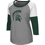 Colosseum Women's Michigan State Spartans Grey Raglan T-Shirt