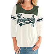 G-III For Her Women's Michigan State Spartans White Endzone Three-Quarter Sleeve T-Shirt