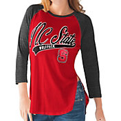 G-III For Her NC State Wolfpack Red/Black Halftime Three-Quarter Raglan T-Shirt