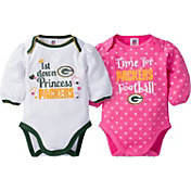 Gerber Infant Girl's Green Bay Packers 2-Piece Long Sleeve Onesie Set