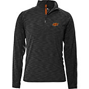 Levelwear Men's Oklahoma State Cowboys Grey Mobility Quarter-Zip Long Sleeve Shirt