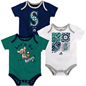 Majestic Infant Seattle Mariners 3-Piece Onesie Set