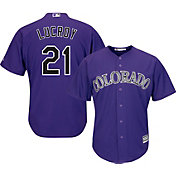 Majestic Men's Replica Colorado Rockies Jonathan Lucroy #21 Cool Base Alternate Purple Jersey