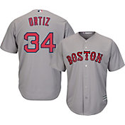 Majestic Men's Replica Boston Red Sox David Ortiz #34 Cool Base Road Grey Jersey
