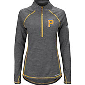 Majestic Women's Pittsburgh Pirates Cool Base Grey Half-Zip Pullover