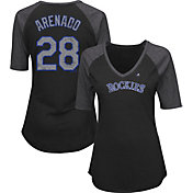 Majestic Women's Colorado Rockies Nolan Arenado #28 Black Raglan V-Neck Half-Length Sleeve Shirt