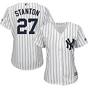 Majestic Women's Replica New York Yankees Giancarlo Stanton #27 Cool Base Home White Jersey
