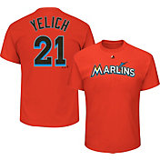 Majestic Youth Miami Marlins Christian Yelich #21 Orange T-Shirt