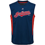 Majestic Youth Cleveland Indians Cool Base Foul Line Navy Performance Sleeveless Shirt