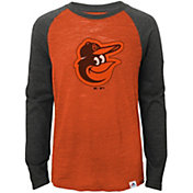 Majestic Youth Baltimore Orioles Orange/Grey Raglan Three-Quarter Sleeve Shirt