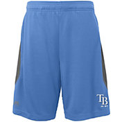 Majestic Youth Tampa Bay Rays Cool Base Rally Light Blue Performance Shorts