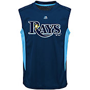 Majestic Youth Tampa Bay Rays Cool Base Foul Line Navy Performance Sleeveless Shirt