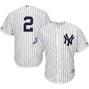 Majestic Youth Replica New York Yankees Derek Jeter #2 Cool Base Home White Jersey w/ Jersey Retirement Patch