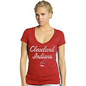 Majestic Threads Women's Cleveland Indians Red V-Neck T-Shirt