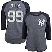 Majestic Threads Women's New York Yankees Aaron Judge #99 Raglan Navy Three-Quarter Sleeve Shirt
